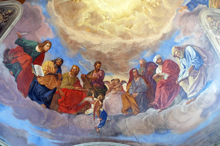 The evangelists and prophets detail of frescoes Apotheosis of St James by Silverio Capparoni on the ceiling of the Church San Giacomo in Augusta in Rome, Italy