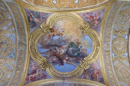 The fresco of virtues of Hope and Truth on the little cupola of side nave in Basilica dei Santi Ambrogio e Carlo al Corso by Pio Paolini from (1678 - 81), Rome, Italy Editorial