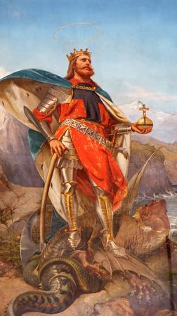 The painting of St. Olav the king of Norway by Pius Adamowitsch Welonsky (1893) on side altar of Basilica dei Santi Ambrogio e Carlo al Corso, Rome, Italy