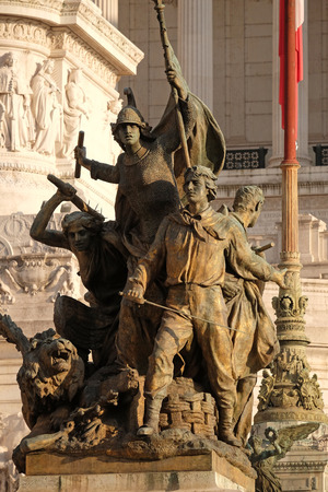 victor: Memorial to ancient fighters in front of the Monomento a Vittorio Emanuele II. Venice Square, Rome, Italy