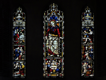 ROME, ITALY - SEPTEMBER 02: Scenes from the life of Saint John on the stained glass of All Saints Anglican Church, Rome, Italy on September 02, 2016.;