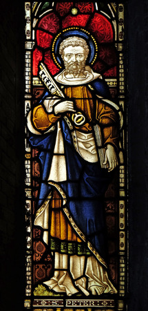 Saint Peter on the stained glass of All Saints Anglican Church, Rome, Italy