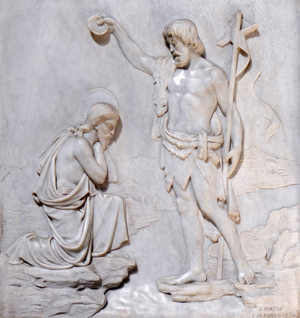 crist: Baptism of the Crist, Church San Giacomo in Augusta in Rome, Italy