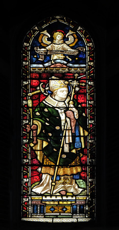 Saint Thomas Becket (from Canterbury) on the stained glass of All Saints Anglican Church, Rome, Italy