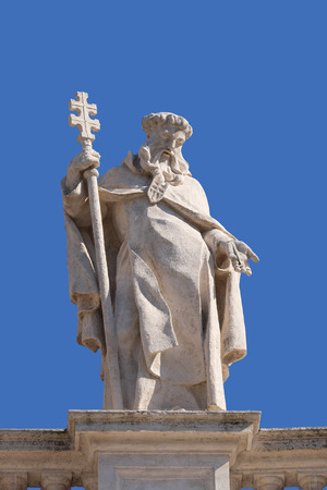 St. Peter Nolasco, fragment of colonnade of St. Peters Basilica. Papal Basilica of St. Peter in Vatican, Rome, Italy Stock Photo