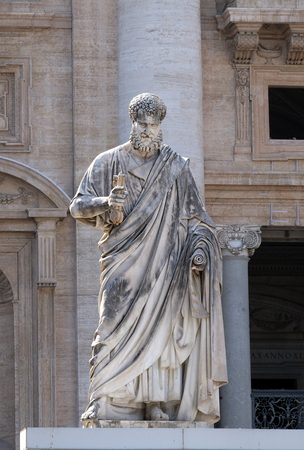 Sculpture of Saint Peter with a key before Papal Basilica of St. Peter in Vatican, Rome, Italy