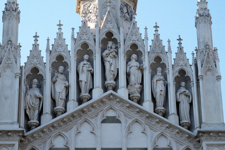 Gallery of saints on the facade of Sacro Cuore del Suffragio church in Rome, Italy Stock Photo