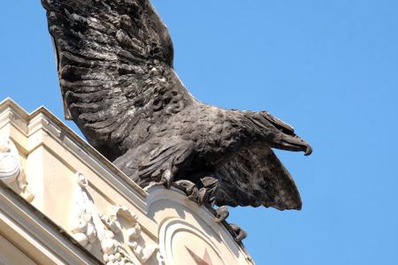 The symbol of aeronautics military Italian corps Palazzo ex Unione Militare in Rome, Italy