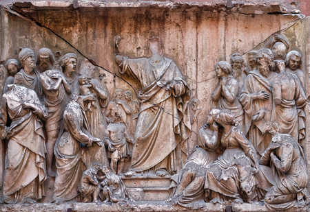 Bass relief in Basilica of Saint Sylvester the First (San Silvestro in Capite) in Rome, Italy Archivio Fotografico