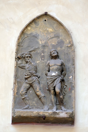 flagellation: Flagellation of Christ, bass relief in Basilica of Saint Sylvester the First (San Silvestro in Capite) in Rome, Italy