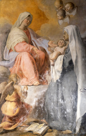 The Virgin Appearing to S. Francesca Romana altarpiece by Francesco Cozza in Chapel of St Michael the Archangel, Basilica di Sant Andrea delle Fratte, Rome, Italy
