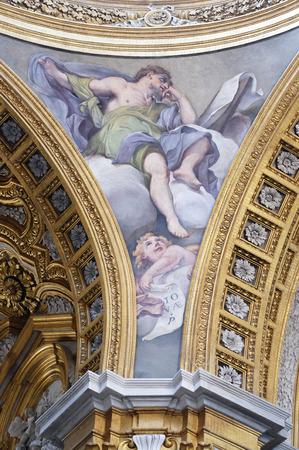 Fresco of prophet of Jonah, Basilica dei Santi Ambrogio e Carlo al Corso, Rome, Italy