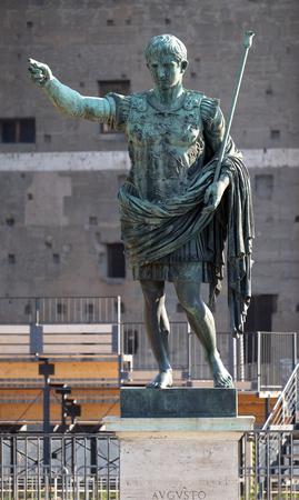 spqr: Bronze statue of Emperor Augustus on via dei Fori Imperiali, Forum Romanum, Rome, Italy Stock Photo