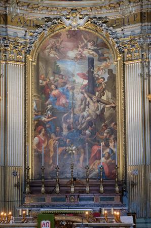 Martyrdoms of the Apostles Philip and James the Less by Domenico Maria Muratori, altarpiece in church dei Santi XII Apostoli in Rome, Italy Stock Photo