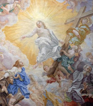 The ceiling fresco (Triumph of Franciscans order - Trionfo dellOrdine) by Domenico Maria Muratori in church dei Santi XII Apostoli in Rome, Italy Redakční