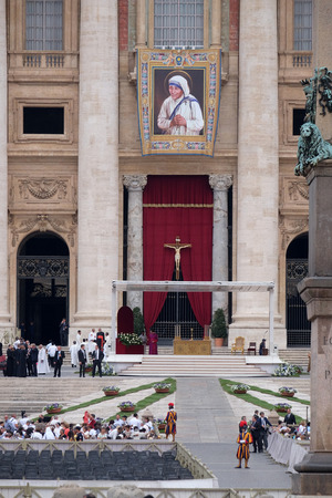 st  peter's basilica pope: St. Peters Basilica in Vatican City arranged for the canonization of Mother Teresa in Rome, Italy