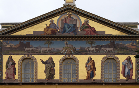 Mosaic of Jesus Christ the Teacher, Saints Peter and Paul and prophets Isaiah, Jeremiah, Ezekiel and Daniel, Basilica of Saint Paul outside the walls, Rome, Italy