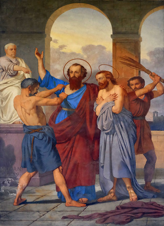 The fresco with the image of the life of St. Paul: Paul and Silas are Whipped in Philippi, basilica of Saint Paul Outside the Walls, Rome, Italy Editorial