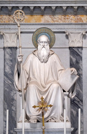 Saint Benedlct statue in the basilica of Saint Paul Outside the Walls, Rome, Italy Редакционное