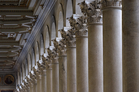 colonade: Marble columns in the basilica of Saint Paul Outside the Walls, Rome, Italy