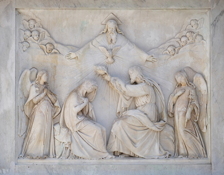 bass relief: Coronation of the Virgin Mary on the Column of the Immaculate Conception on Piazza Mignanelli in Rome, Italy
