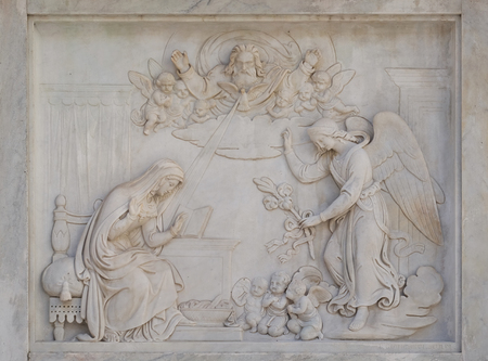 bass relief: Annunciation of the Virgin Mary on the Column of the Immaculate Conception on Piazza Mignanelli in Rome, Italy