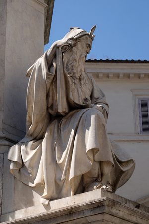 The Moses statue on the Column of the Immaculate Conception by Ignazio Jacometti on Piazza Mignanelli in Rome, Italy