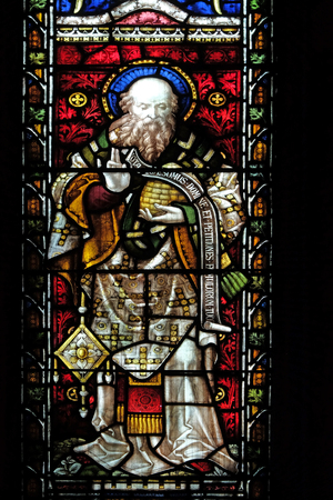 Saint John Chrysostom on the stained glass of All Saints Anglican Church, Rome, Italy Editorial