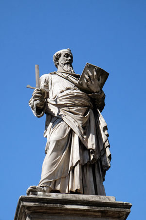 Statue of Apostle saint Paul on the Ponte Sant Angelo in Rome, Italy Stock Photo