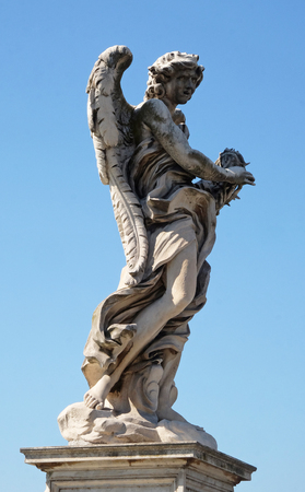 Statue of Angel with the Crown of Thorns by Gian Lorenzo Bernini, Ponte Sant Angelo in Rome, Italy