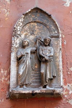 Ecce Homo, bassorilievo nella Basilica di San Silvestro il primo (San Silvestro in Capite) a Roma, Italia