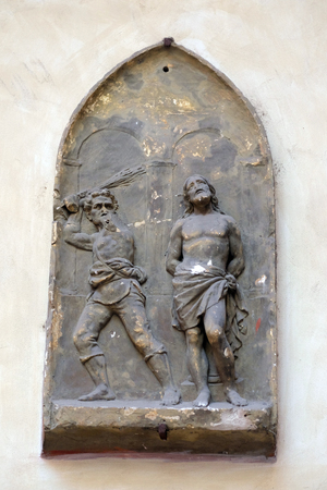Flagellation of Christ, bass relief in Basilica of Saint Sylvester the First (San Silvestro in Capite) in Rome, Italy