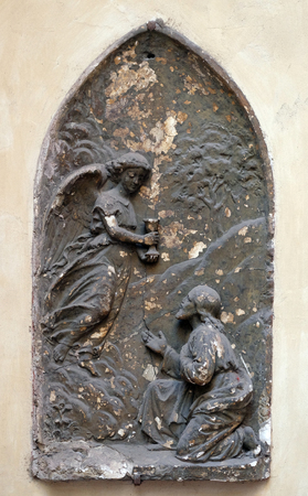 Agony in the garden, bass relief in Basilica of Saint Sylvester the First (San Silvestro in Capite) in Rome, Italy