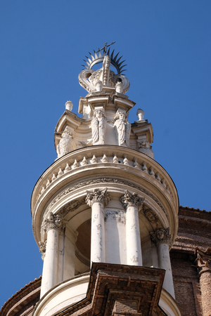 The bell tower of Basilica di Sant Andrea delle Fratte, Rome, Italy