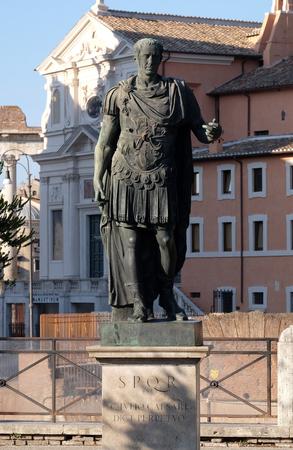 spqr: Bronze statue of Emperor Julius Caesar, Via dei Fori Imperiali, Rome, Italy