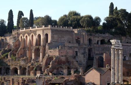 corinthian column: Ancient Roman Forum and the three columns of Temple of Castor and Pollux, UNESCO World Heritage Site, Rome, Lazio, Italy Stock Photo