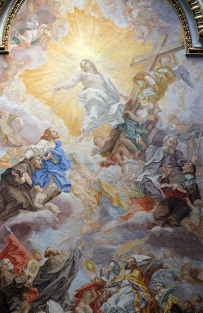 The ceiling fresco (Triumph of Franciscans order - Trionfo dellOrdine) by Domenico Maria Muratori in church dei Santi XII Apostoli in Rome, Italy Editorial