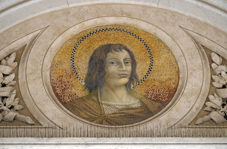 Saint Thomas the Apostle mosaic in the basilica of Saint Paul Outside the Walls, Rome, Italy