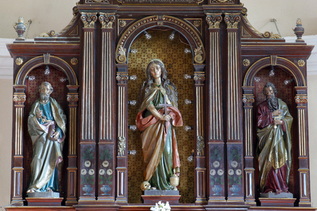 Saint Peter, Saint Mary Magdalene and Saint Paul, altar in Parish Church of Saint Mary Magdalene in Donja Kupcina, Croatia