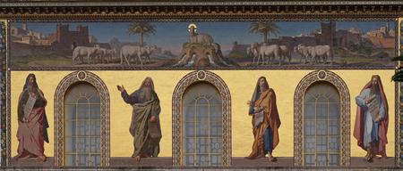 Mosaic of prophets Isaiah, Jeremiah, Ezekiel and Daniel, Basilica of Saint Paul outside the walls, Rome, Italy