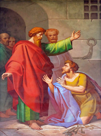 jailer: The fresco with the image of the life of St. Paul: Conversion of the Jailer, basilica of Saint Paul Outside the Walls, Rome, Italy
