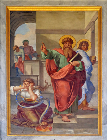 The fresco with the image of the life of St. Paul: The Exorcism of the Slave Girl, basilica of Saint Paul Outside the Walls, Rome, Italy