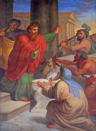barnabas: The fresco with the image of the life of St. Paul: Paul and Barnabas Taken for Gods, basilica of Saint Paul Outside the Walls, Rome, Italy Editorial