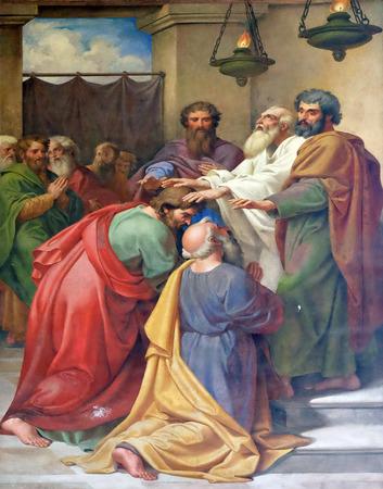 聖パウロの人生のイメージとフレスコ画: ソールとバルナバ按手、聖堂サン ポール外側壁、ローマ、イタリア 報道画像