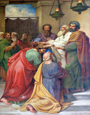 The fresco with the image of the life of St. Paul: Saul and Barnabas laying on of hands, basilica of Saint Paul Outside the Walls, Rome, Italy Редакционное