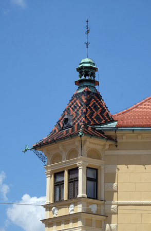 Architecture of Ptuj, town on the Drava River banks, Lower Styria Region, Slovenia Editorial