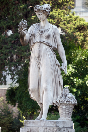 Allegorical statue of Summer, Piazza del Popolo in Rome, Italy