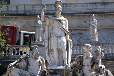 allegoric: Pincio Terrace, goddess Roma between Tiber and Aniene, Piazza del Popolo in Rome, Italy