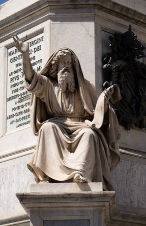 Seer Ezekiel by Carlo Chelli on the Column of the Immaculate Conception on Piazza Mignanelli in Rome, Italy Editorial