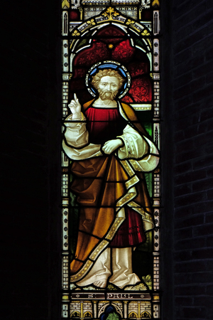 Saint Paul on the stained glass of All Saints Anglican Church, Rome, Italy